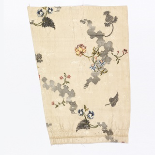Silk brocaded with colored silks and silver thread, with a rocaille pattern in the ground and floral sprays.