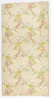 Silk brocade with a loose lattice framework formed of naturalistic flowers and leaves, in pale greens, pinks and oranges on an off-white ground.