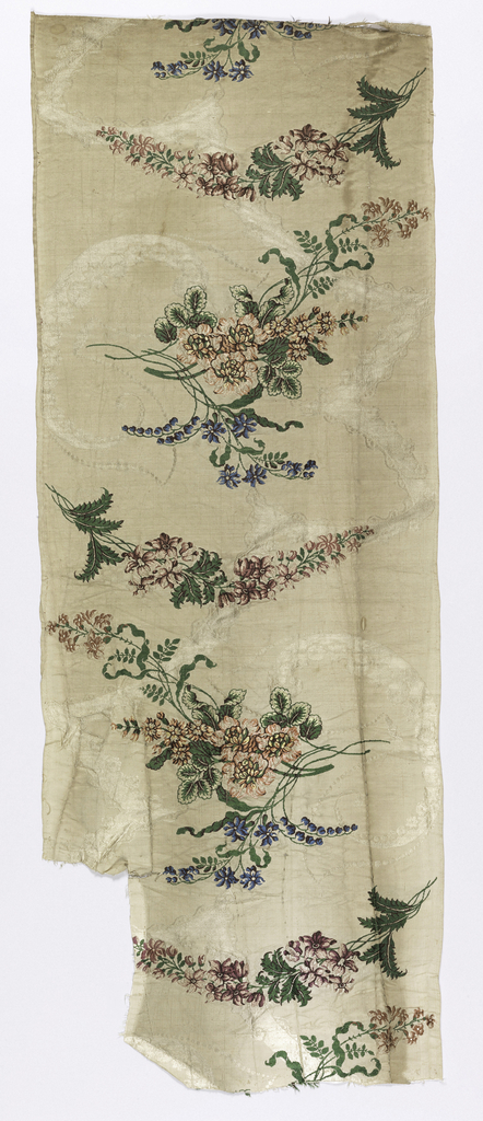 Length of woven silk with bouquets of flowers and larkspur-like spikes, tied together by angular ribbon-like bands, in many colors on an off-white ground.