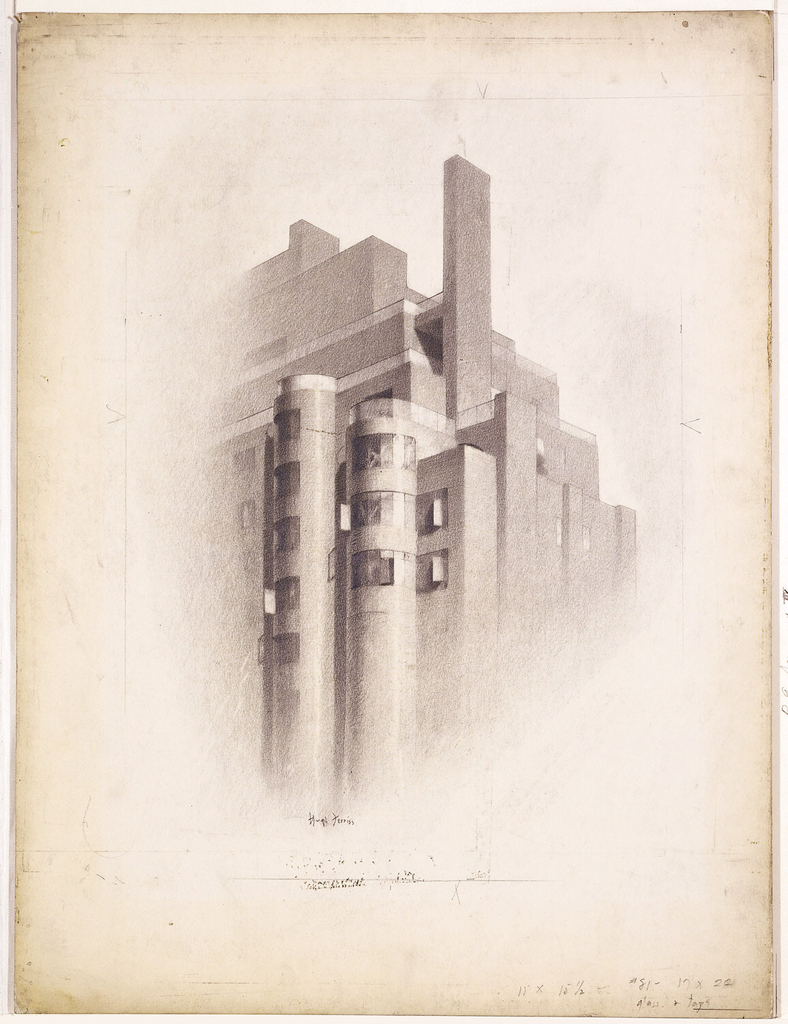 Upper part of a building with two cylindrical windowed sections at center.  Partial ruled border line in graphite.