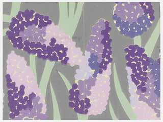 Bold, freely interpreted hyacinth blossoms and leaves. Printed in violet, lavender, pink and green on a medium gray ground.