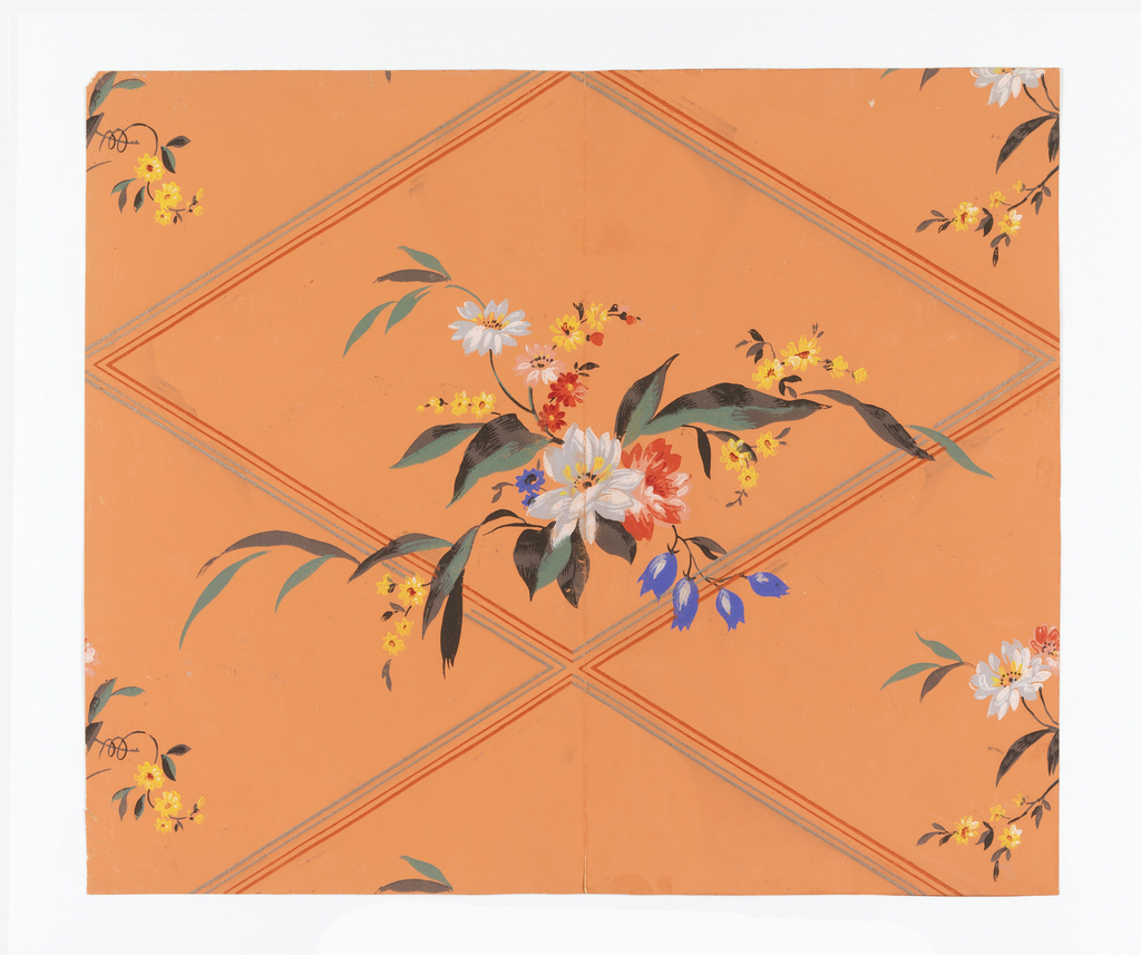 A diamond trellis or diaper pattern with each lozenge containing a bouquet or floral sprig. Printed in colors on a pastel orange ground. In the modernist style of design.