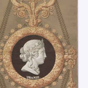 """Vertical rectangle. Large diamond-shaped framework of leaf forms, set with lyre and candelabrum, enclosing circular medallion at center. In medallion classical profile of woman's head, with caption: """"Uranie"""". Framework in yellow, against on olive-green ground."""