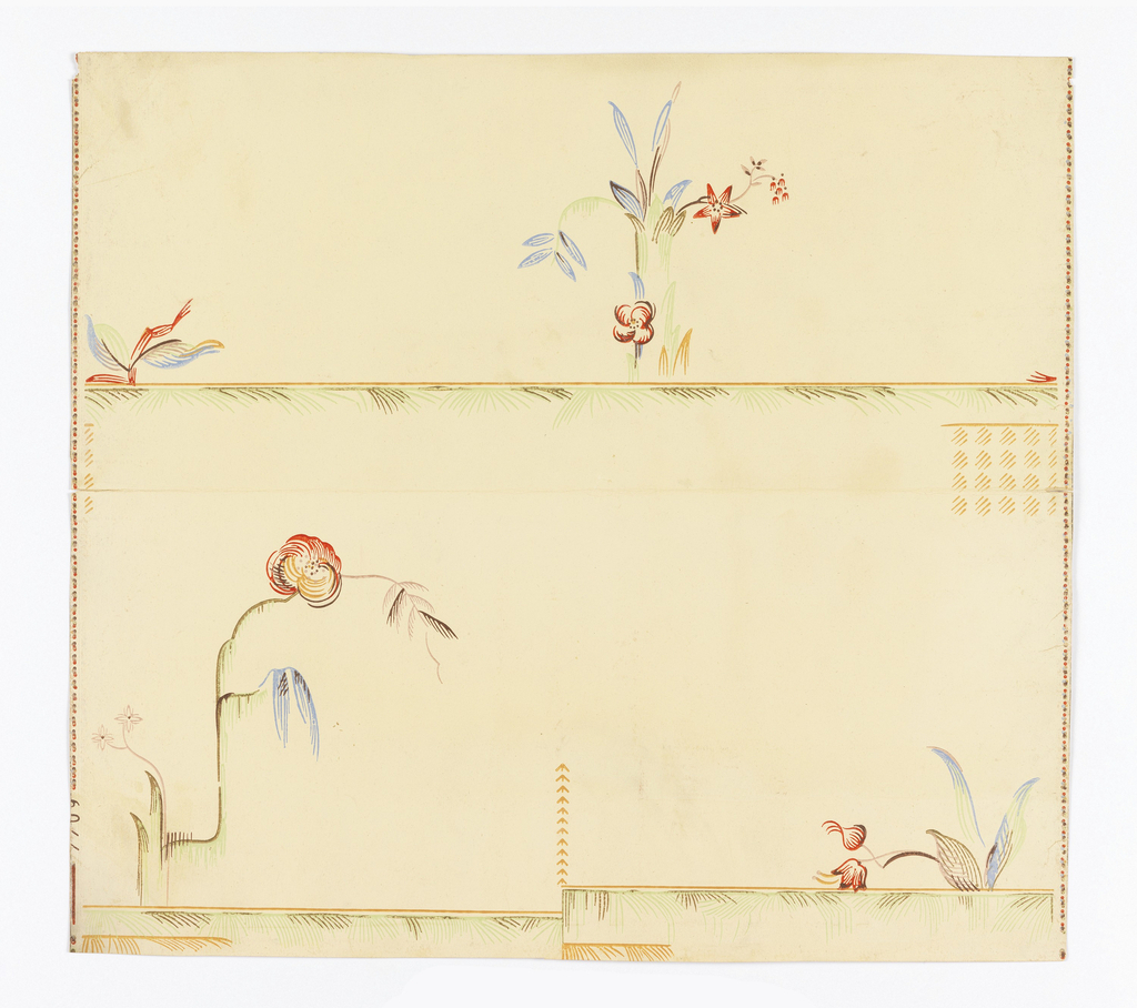 """The yellows, reds, and oranges of the """"twenties."""" Wallpapers, mostly from Germany, using geo-mechanical, fruit, and flower motifs. Not backed with muslin."""