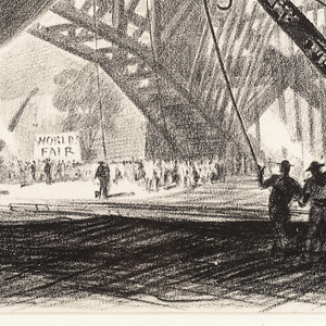 Print, Construction of the Trylon and Perisphere, 1939 New York World's Fair