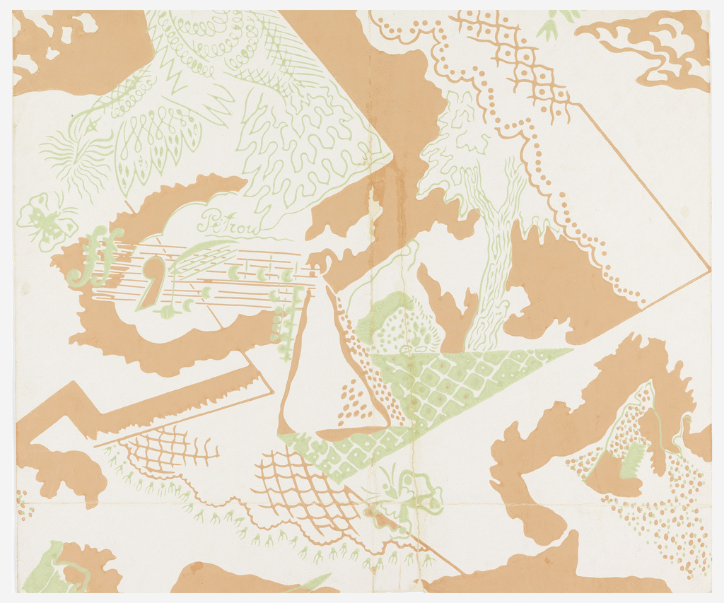 Stylized pattern of butterflies, trees, lace, tassels, and music. Printed on salmon and light green against beige background. Same design as 'a' but one width and incomplete repeat.