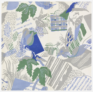 Stylized birds, leaves, bars of musical notes and squares of plaid, all juxtaposed and overlapping.  Printed in two shades of blue, gray and green on an off-white ground.