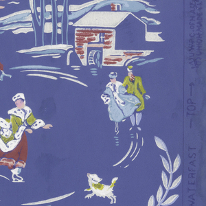 Two scenic vistas, each containing red mill in background. Full width, with two large motifs showing boaters and skaters, and repeated small motif of nautiloid shell. Dark blue ground.