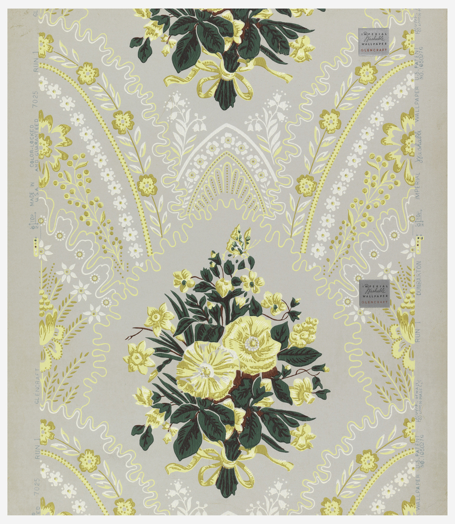 A Victorian design inspired from romantic epoch of Louis Philippe. It has a Gothic influence. A large naturalistic floral bouquet is tied with a ribbon and bowknotted. Springing from upper scalloped edges of encircling lines are narrow arching bands of florettes and floral stripes meeting at top in pointed arches. Original paper found on bandbox from Dunbarton, New Hampshire. Printed in green, brown, white and yellow on gray field.
