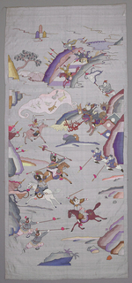 Vertically rectangular hanging silk and metallic tapestry weave (k'o-ssu), with a scene of warriors on horseback and on foot, in battle. In grey, purples, browns, blues, pink and white with occasional use of gold. Some facial features are painted in.