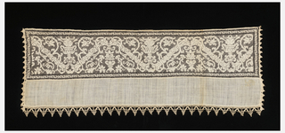 End of a towel or table cover. Needlework on knotted net with a design of scrolling vines over diagonal bars in a symmetrical arrangement with urns.