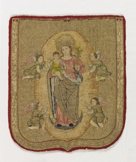 Shield-shaped cope hood showing the Madonna and Child standing on a crescent within an oval, flanked by two angels on each side. The figures are embroidered in polychrome silks, while the entire background is filled with gold metallic yarns laid with couching stitches.