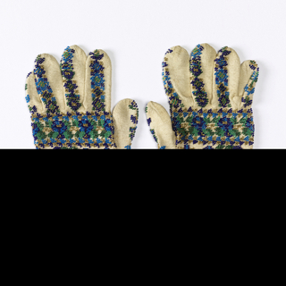Gloves ornamented with blue, green and gold beads in design of conventionalized flowers.