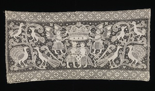 Horizontal band with a couple standing below a crown supported by winged figures. Peacocks and birds in trees on either side.