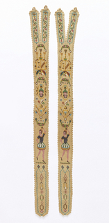 Pair of men's suspenders. Knitted coarse cotton with glass beads showing a symmetrical pattern of floral swags, armorials and dancing women. Crocheted scalloped border all round.
