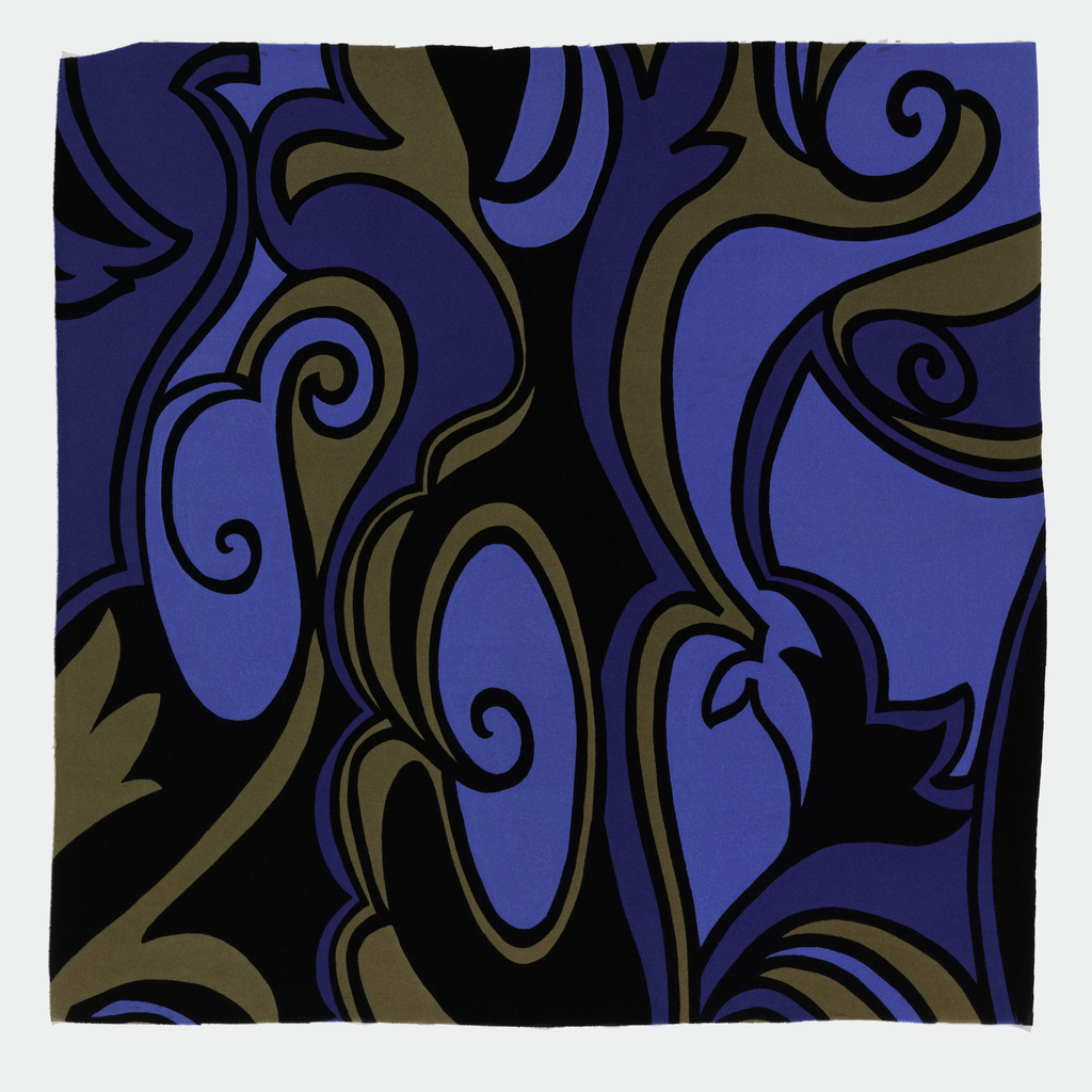 Brilliant colors with swirling designs in black, blues and brown.