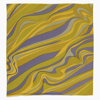 Diagonal pattern of fluid stripes in gray, blue-gray, yellowish-green, and orange.