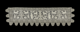 Horizontal panel of animals, birds and hunters. They surround fountains and trees to create a strong vertical design. Border of bobbin lace in deep scallops. Inspired by sixteenth century Italian patterns.
