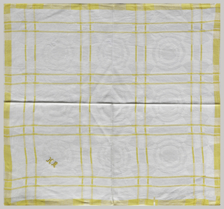 Damask woven with white warp and white weft and yellow forming a fine grid.