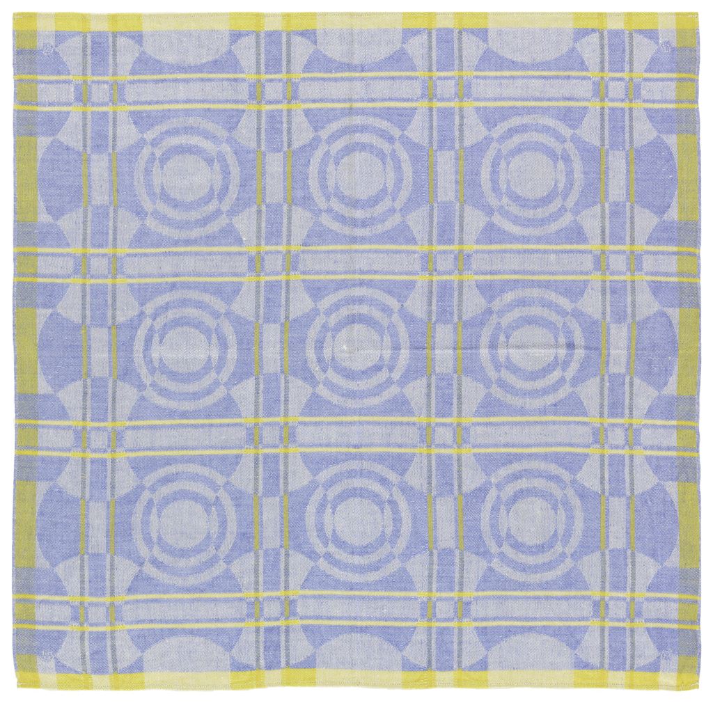 Damask woven with white warp and blue weft and yellow forming a fine grid.