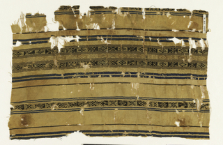 Beige ground with horizontal stripes of paired blue and narrow brown, with brown and beige bands of woven diamond and X patterns in positive/negative space.