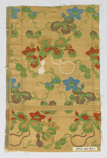 Beige and gold background with weft patterning of flowers, vines, and gourds in green, blue, red, white, brown, and tan silk threads.