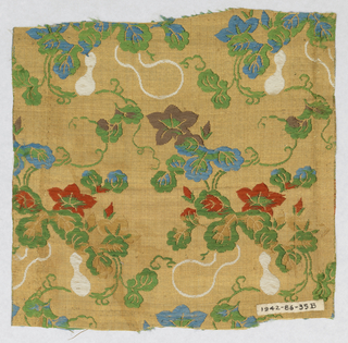 Beige and gold plain woven ground with weft float pattern of flowers, vines, and gourds in green, blue, red, white, brown, and tan silk threads.