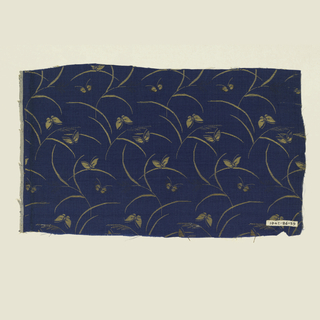 Blue ground with pattern of butterflies and arcs of grass in gold silk and gilt paper