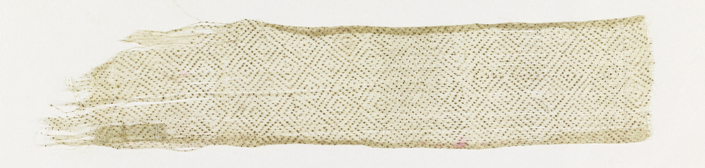 Strip of very fine sheer undyed silk plain weave with small-scale all-over design of diamonds within diamonds in diamond trellis, all drawn in line of gold dots.
