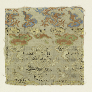 Off-white ground with pattern of dragons and clouds in red, blue, green, cream, and black silk threads with paper threads that have lost gilt.