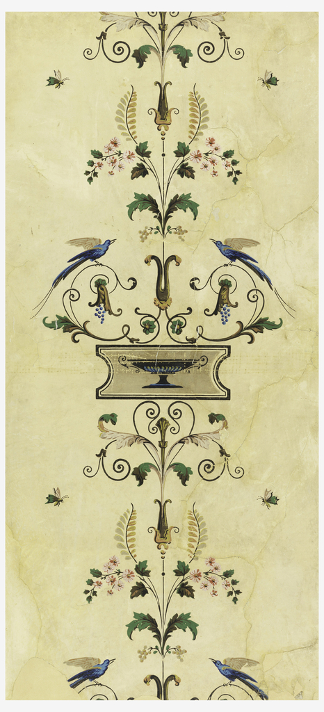 Vertical rectangle. Design repeating along vertical axis, of foliate and floral sprays and scrolls, with grapes and confronted blue birds. Cream field, with blues, greens, blacks and pinks.