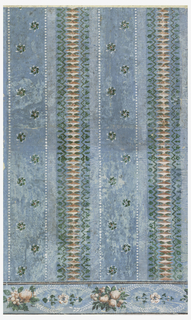 Vertical rectangle. Design simulating a brocaded silk weave with stripes ofparallel white bars, of white dots and of pink lozenge forms between chevron band. Alternating with these small stripes, a broad stripe of the blue field, sewn in two rows with floral and foliate whorls, Border shows clusters of fruit alternating with single flowers. Printed in white, reds, and greens on blue field. Greens glazed.