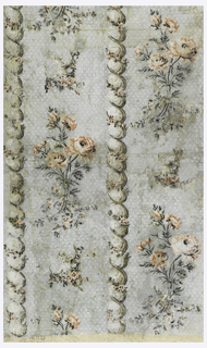 Vertical rectangle composed of three joined sheets giving one and one-half repeats of drop-repeating design, which repeats twice in one width. Vertical twisted cable, entwined with floral sprays, flanked by alternating large and small clusters of roses.