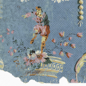 Alternating motifs of fruit and flower clusters, and carved bracket supporting a man in Chinese costume; ground stippled and open space between larger motifs broken by festooned beads. Printed in colors on blue ground. Vertical rectangle of joined sheets of paper.