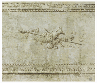 Horizontal rectangle on joined sheets of paper. Simulated architectural frieze adorned with urn and thyrsis entwined with grapevine; blue-gray, with warm gray shading.