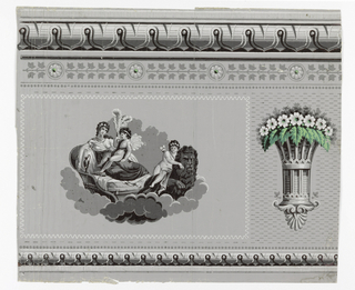 Horizontal rectangle. Simulated architectural frieze ornamented by a motif showing a woman attended by putti, and a basket of flowers with green leaves; against a gray field.