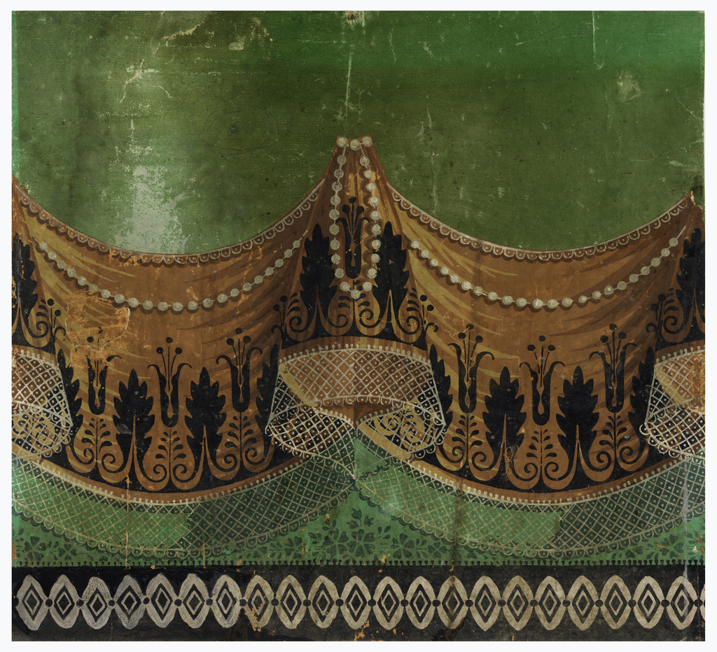 Square portion of frieze, composed of festooned rust-colored drapery, with pearls, and lace-trimmed edges, against a green satin background. Across the bottom a black border, relieved by vertical white lozenges. This would form the bottom border for a drapery wallcovering.