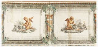 Horizontal portion of frieze printed on four joined sheets of paper, giving two units of a repeating design. Upon the center of a simulated scroll, partly unrolled, is an artisan cupid in brown. Between the scrolls a quiver in brown with white arrows, and green olive branches are above and below. Along the top and the bottom are simulated architectural moldings in brown and green.