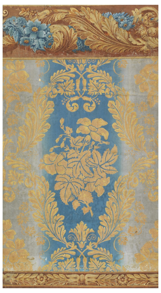 Vertical rectangle printed on joined sheets of paper. Blue field with floral medallions in yellow, surrounded by foliate scrolls. At top and bottom, border with foliate scrolls enclosing blue floral clusters. Irise or rainbow paper.