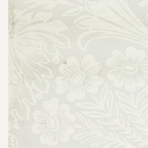 Horizontal rectangle, giving a complete width less margins. Large-scale pattern of flowing leaf-forms and scrolls, with flowers. Printed in pale gray on glazed white paper.