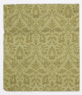 Horizontal rectangles, giving complete width. Design, in two shades of brown, simulates conventional foliage pattern in cut and uncut velvet, with simulation of metal thread in field. Printed in browns and gilt on gray-green ground. Stamped with vertical ribbing and with relief design.