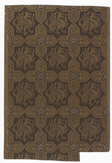 Simulation of medieval textile. Eight-pointed figures enclosing griffins, set apart by foliated crosses with pointed arms. Paper embossed with simulation of weaving. Printed in browns, silver and gold, on brown ground.