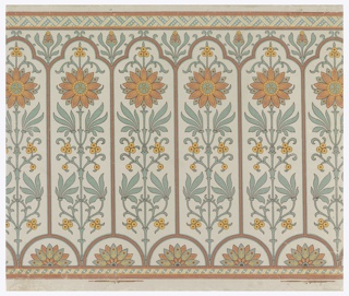 Narrow bands of geometric ornament across top and bottom. Long narrow panels, trefoil-headed, set with conventionalized axial passion-flower, above small tangent semi-circles enclosing conventional half- water lilies. Paper embossed with pebbled figure.