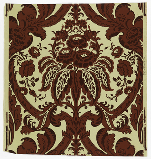 Full width giving one repeat of design of ogival framework enclosing bouquet. Printed in reds on ivory satin ground.