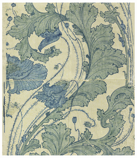 """Stylized poppy and leaf design drawn in large, bold, serpentine pattern. This wallpaper is called """"wash print"""" because the blue and green colors are semi-transparent. Over the ecru field there is printed in yellow outline a small all-over leaf design.  Art nouveau in style."""