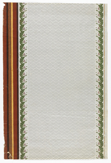 Wide area of all-over pattern of gray lines on gray satin ground, flanked by two vertical bands of white and lavender flowers and green flock leaves,and one band of brown rope on flocked maroon ground.