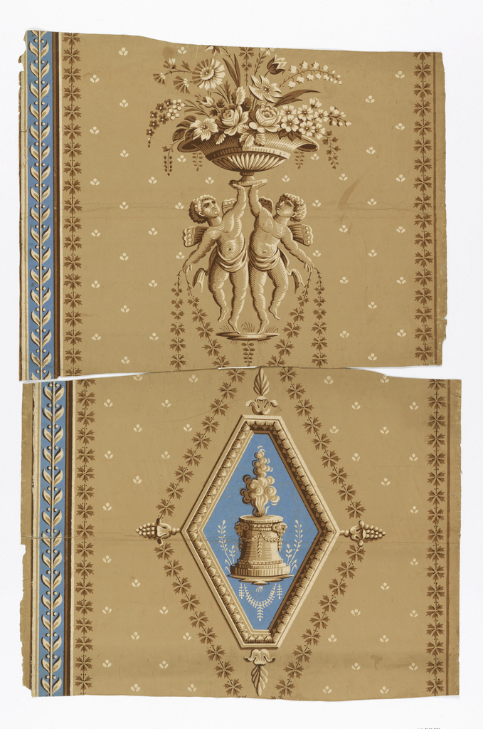 "a) Two putti holding up vase of flowers. Shades of brown on brown. To left is vertical stripe of brown leaves on blue; b) fragment of same paper as ""a"". On same ground as above, a diamond-shaped frame with sacrificial altar; c,d) duplicates of ""b""."