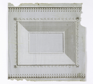 Dado with inset panel. Wide panel molding with insect-like motif at corners. Printed in shades of cool gray.