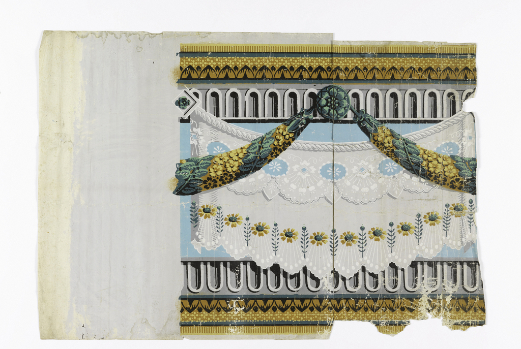 White drapery swag suspended from architectural molding. Foliate garland in front. Printed in colors against blue background.