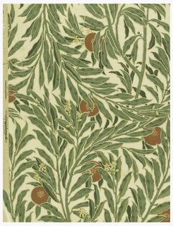 Orange tree branches, leaves, blossoms and fruit, printed in cream, yellow, greens, beige, terra cotta and brown.